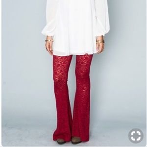 Show Me Your Mumu Bam Bam Bells red lace pants - M